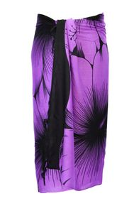 Sarong for Men Big Hibiscus Floral Sarong in Purple/Black