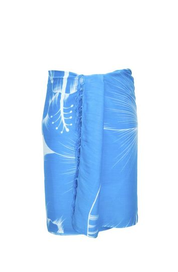 Sarong for Men Big Hibiscus Floral Sarong in Turquoise