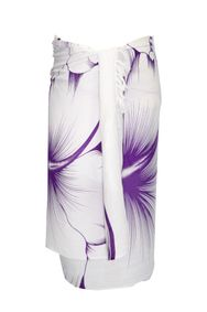 Sarong for Men Big Hibiscus Floral Sarong in White/Purple