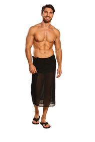 Sarong for Men Full Size Sheer Sarong in Black - Fringeless Sarong