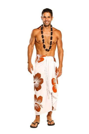 Sarong for Men, Hawaiian Cover-Up Sarong in Brown and White