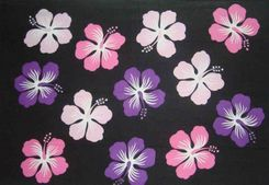 Sarong for Men Hawaiian Floral Sarong in Black/Pink/Purple