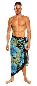 Sarong for Men Hawaiian Floral Sarong in Turquoise/Black - Special Order - Call