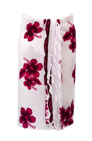 Sarong for Men Hibiscus Sarong in Pink / White