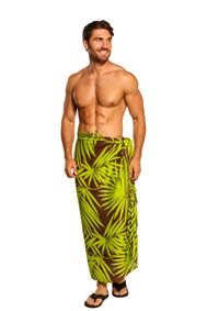 Sarong for Men Lave Lava / Sarong / Pareau Hawaiian s Tyle Floral Wrap Palm Leaf 8 - Green/Brown