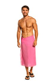 Sarong for Men Light Weight Cotton Sarong in Hot Pink - Fringeless Sarong