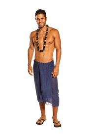 Sarong for Men Light Weight Cotton Sarong in Navy Blue - Fringeless Sarong