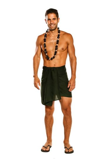 Sarong for Men, Solid Color Fringeless Sarong in Forest Green Half Short Mini Sarong