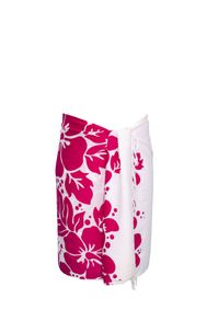 Sarong for Men Triple Lei White Sarong in Pink/White
