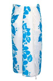 Sarong for Men Triple Lei White Sarong in Turquoise/White