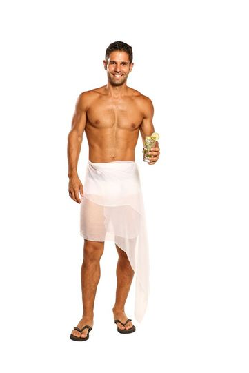 Sarong for Men Wrinkle Chiffon Sarong in White - Fringeless Sarong