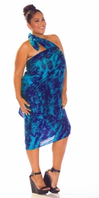 Sarong in Blue / Turquoise Smoked PLUS Size XL - 3X + - Fringeless Sarong