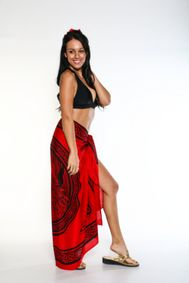 Fringeless Celtic Cover-Up Sarong Maiden And The Dragon in Rose Red