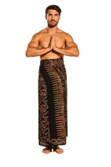 Mens Plus Size Abstract Floral Sarong Fringeless Gold and Black