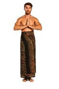 Mens Plus Size Abstract Floral Sarong Fringeless Gold and Black - Final Sale - No Returns