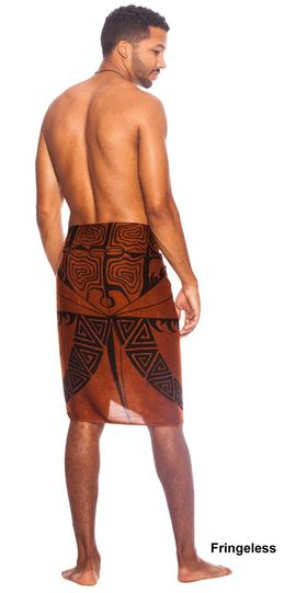 "Tattoo Mens Sarong ""Brown"" Fringeless"