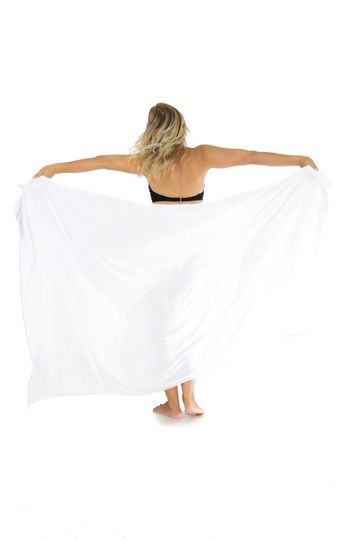 White Top Quality Sarong - Fringeless Sarong