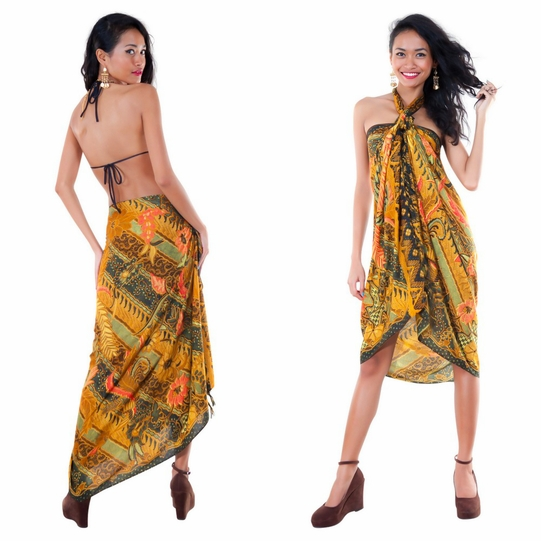 Sarong With Traditional Motif Brown Green