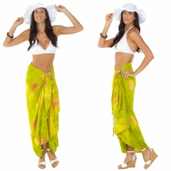 "Seashell Sarong ""Green w/ Multicolor"""