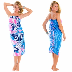 Seashell Sarong in Blue and Pink - Fringeless Sarong