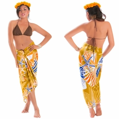Seashell Sarong in Brown - Fringeless Sarong