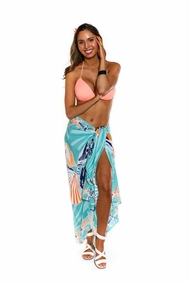 Seashell Sarong in Teal and Orange - Fringeless Sarong