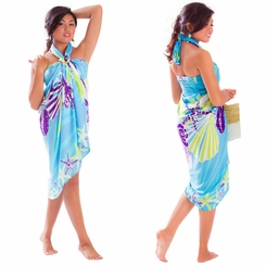 Seashell Sarong in Turquoise - Fringeless Sarong