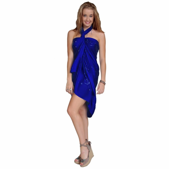 """Sequined / Embroidered / Beaded Sarong """"Blue"""""""