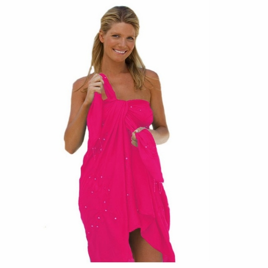 "Sequined / Embroidered / Beaded Sarong ""Hot Pink"""