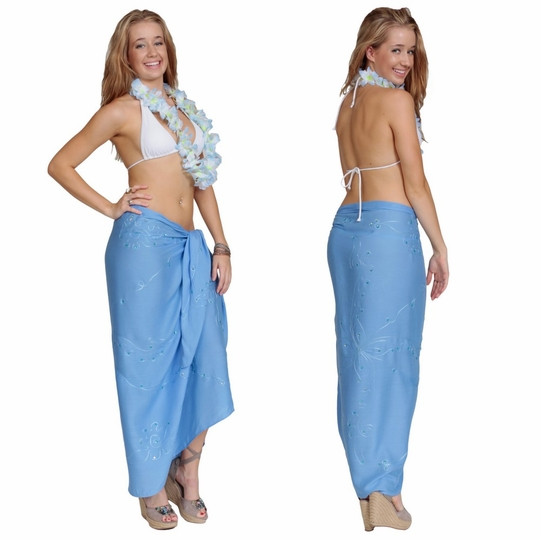 """Sequined / Embroidered / Beaded Sarong """"Light Blue"""""""