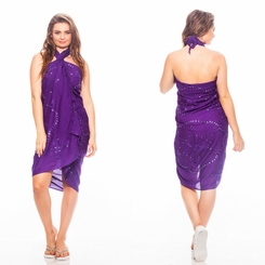 "Sequined / Embroidered / Beaded Sarong ""Purple"""