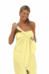 """Sequined / Embroidered / Beaded Sarong """"Soft Yellow"""""""