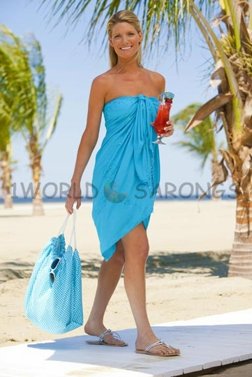 """Sequined / Embroidered / Beaded Sarong """"Turquoise"""""""