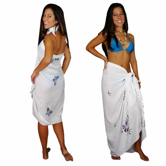 """Sequined / Embroidered / Butterfly Sarong """"White"""" - Final Sale - No Returns"""