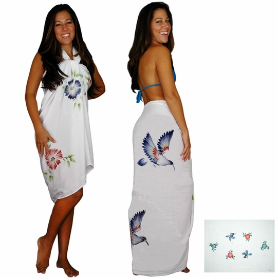Sequined / Embroidered / Floral Birds Sarong in White