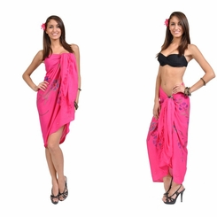"Sequined / Embroidered / Floral Sarong ""Hot Pink"""