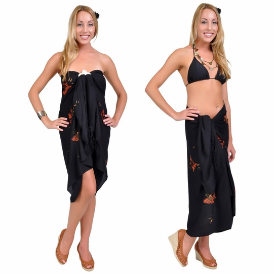 "Sequined / Embroidered / Floral w/ Butterflies Sarong ""Black"""