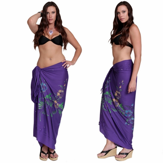 """Sequined / Embroidered / Floral w/ Butterflies Sarong """"Purple"""""""