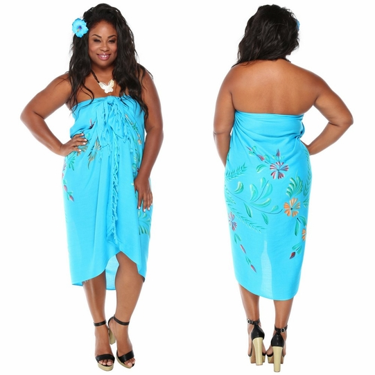 Embellished FLoral Sarong with Butterflies in Turquoise