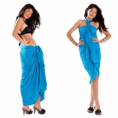 Sequined / Embroidered Sarong in Turquoise