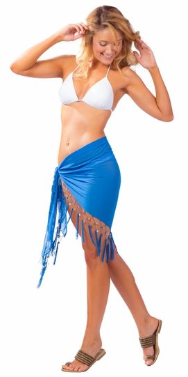 Triangular Sheer Sarong with Fringed with Shells in Denim