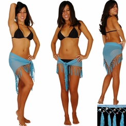Triangular Sheer Sarong with Fringed with Shells in Light Blue