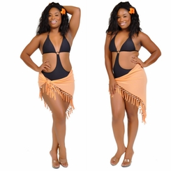 Triangular Sheer Sarong with Fringed with Shells in Mango