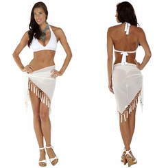 Triangular Sheer Sarong with Fringed with Shells in White - Final Sale - No Returns