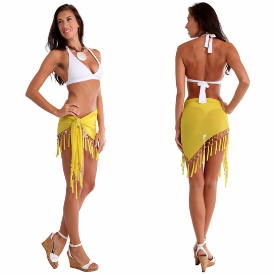 Triangular Sheer Sarong with Fringed with Shells in Yellow