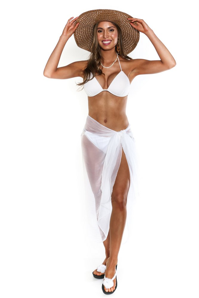 eb46cbacb4bfa Sheer Swimsuit Cover-Up Wrinkle Chiffon Sarong in White