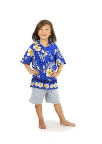 Shirt Casual Aloha Royal Blue Button Down Short Sleeve Boys Beach Shirt