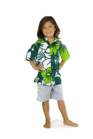 Shirt Casual Amazon Jungle Green and White Button Down Short Sleeve Boys Beach Shirt