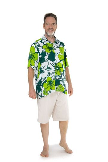 Shirt Casual Amazon Jungle Green and White Button Down Short Sleeve Mens Beach Shirt