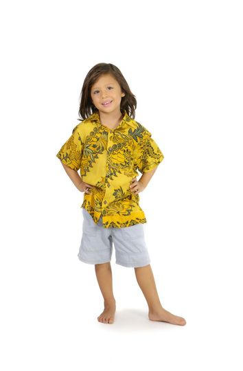 Shirt Casual Golden T Button Down Short Sleeve Boys Beach Shirt in Traditional Motif Gold